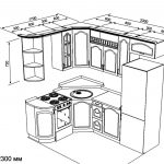 чертеж угловой кухни 1700 х 2300