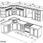 чертеж угловой кухни 1700 х 3100