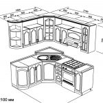 чертеж угловой кухни 1800 х 2100