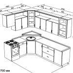 чертеж угловой кухни 1900 х 2700