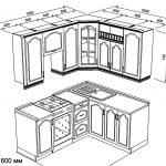 чертеж угловой кухни 1950 х 1600