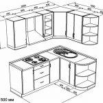 чертеж угловой кухни 2000 х 1500