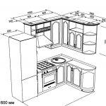 чертеж угловой кухни 2200 х 1600