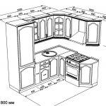 чертеж угловой кухни 2200 х 1800