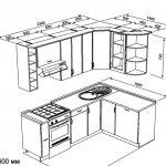 чертеж угловой кухни 2300 х 1600