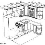 чертеж угловой кухни 2400 х 1800