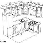 чертеж угловой кухни 2600 х 1900