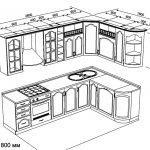 чертеж угловой кухни 2800 х 1800