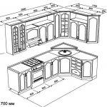 чертеж угловой кухни 2900 х 1700