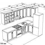 чертеж угловой кухни 3000 х 1700