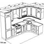 чертеж угловой кухни 3150 х 1700