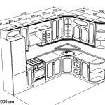 чертеж угловой кухни 3200 х 2000