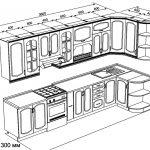 чертеж угловой кухни 3600 х 1300