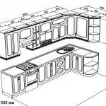 чертеж угловой кухни 3600 х 1500