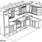 чертеж угловой кухни 3700 х 1800