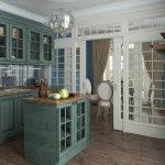 бело-зеленая кухня в английском стиле