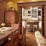 кухня по-английски, выполненная в теплом цвете