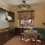 красивые шторы для кухни в английском стиле