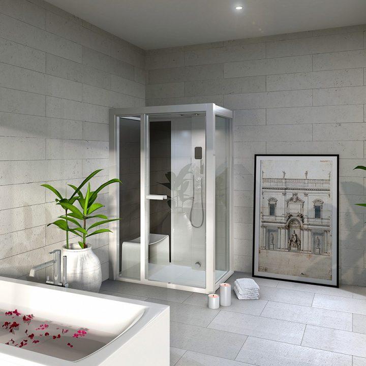 душевая с встроенной сауной в ванне