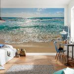 вид пляжа на стене