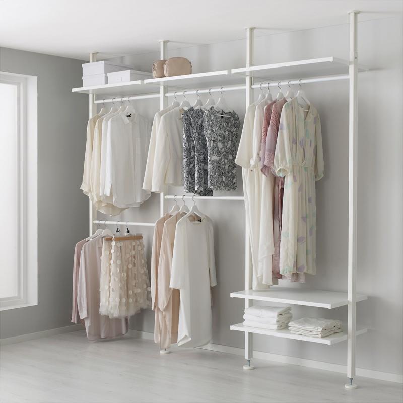 Панельная гардеробная система белого цвета