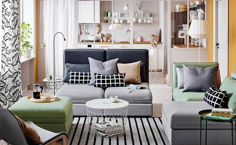 свободное пространство в квартире в икеевском стиле