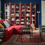красный книжный шкаф от икеа