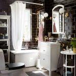 черный и белый для оформления ванной комнаты