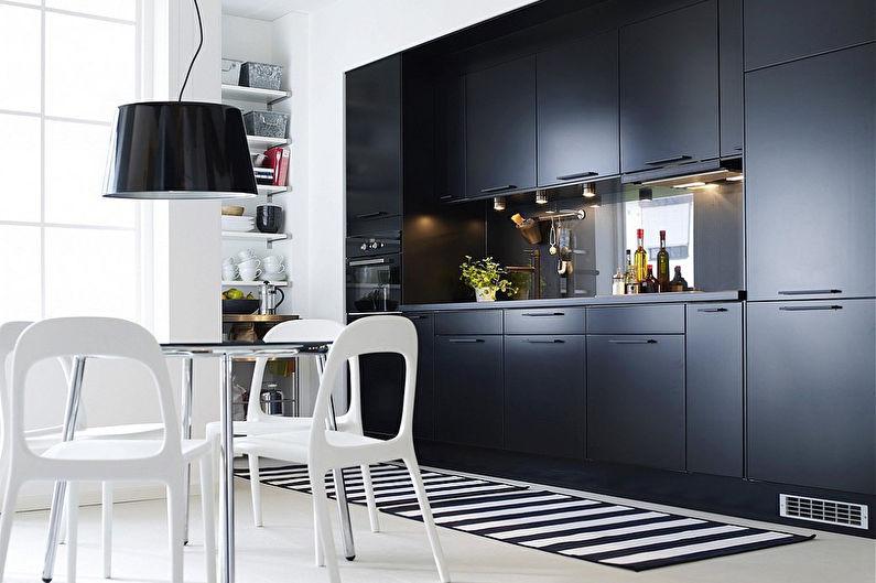 красивая черно-белая кухня от икеа