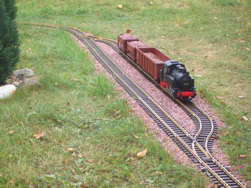 поезд на рельсах на садовом участке