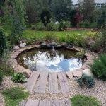 прудик круглой формы в саду