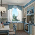 нежный тюль для кухни белого и голубого цвета