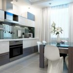 белоснежный тюль для современной кухни