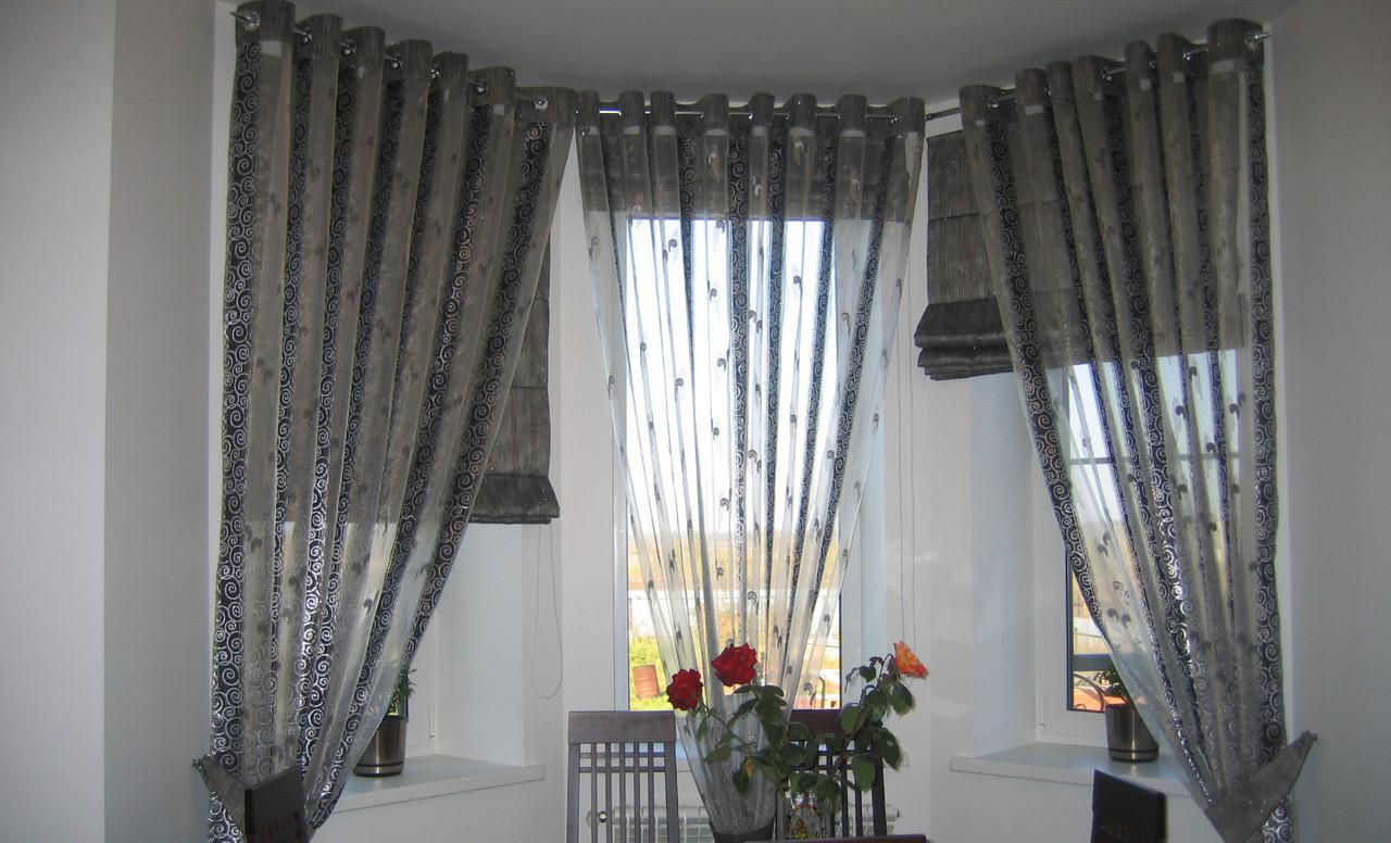 шторы и тюль благородного серого цвета
