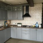 стена бежевого цвета с принтом для кухни от Икеа