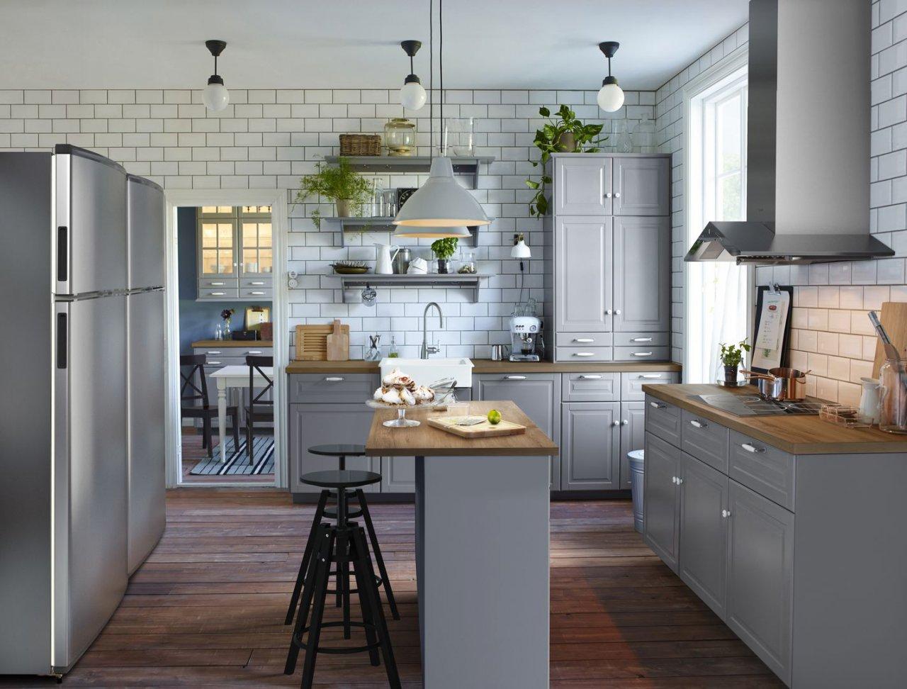 Кухня серого цвета от Икеа