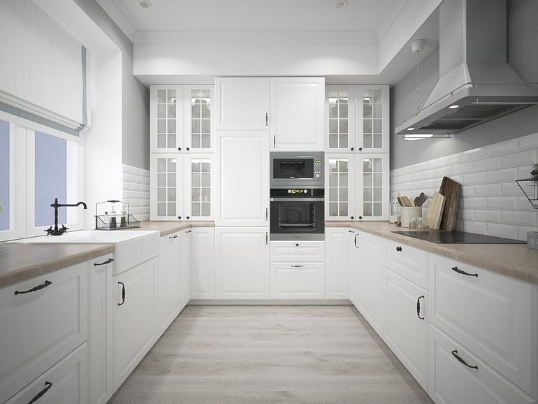 """большая кухня Икеа """"Будбин"""" в белом исполнении"""
