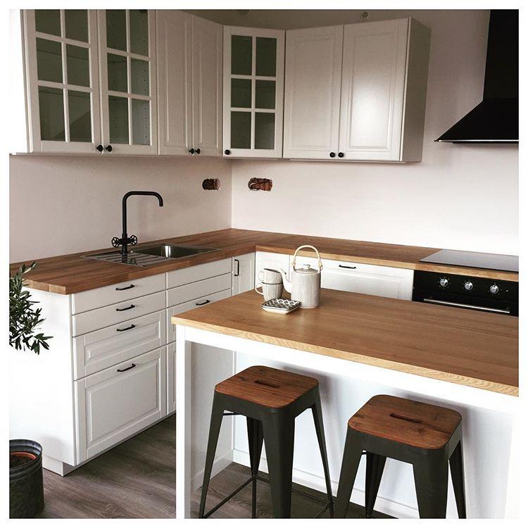 напольные и навесные шкафы на кухне