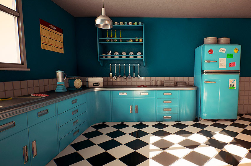шахматный пол на кухне в стиле ретро
