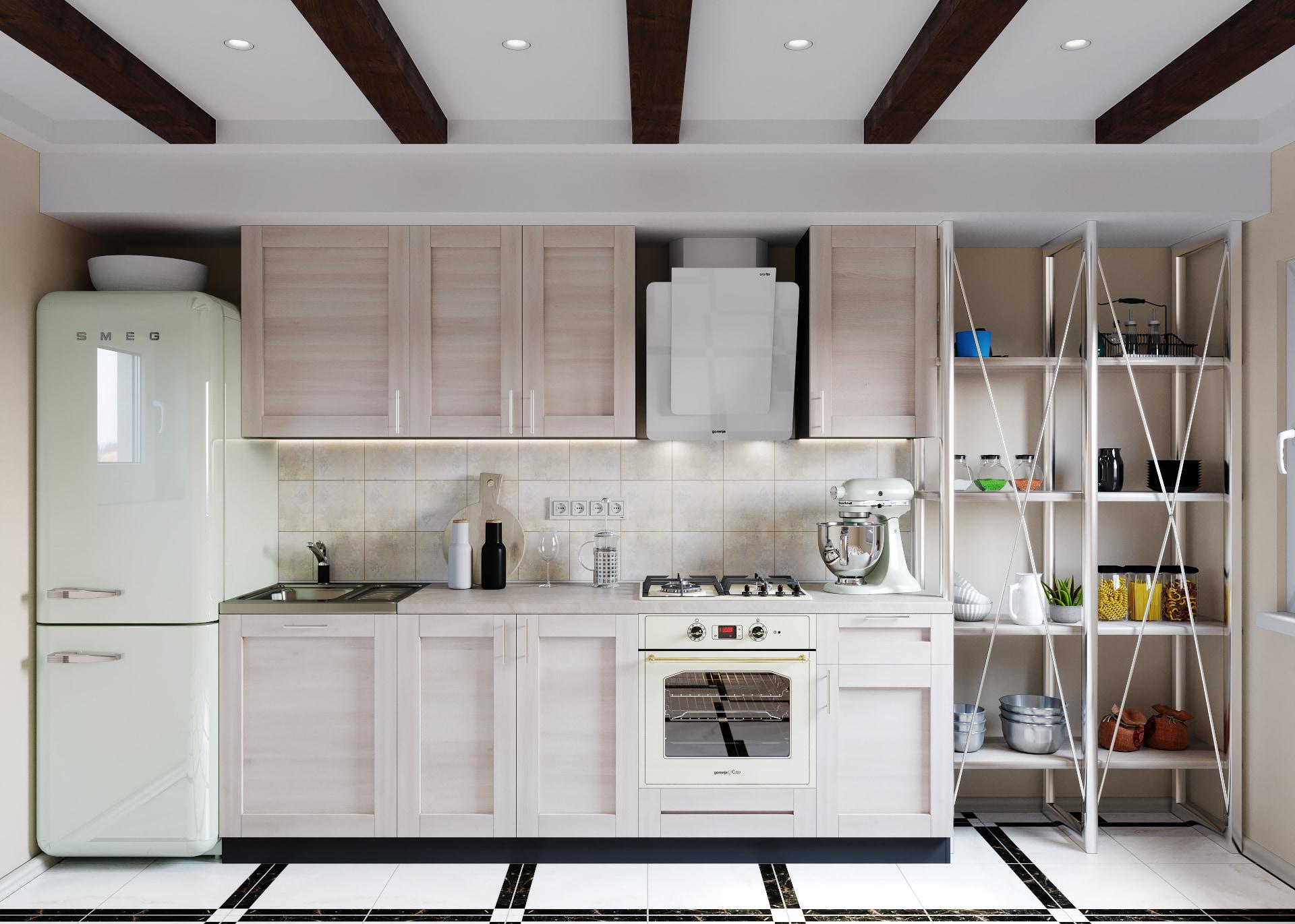 интерьер черно-белой ретро кухни