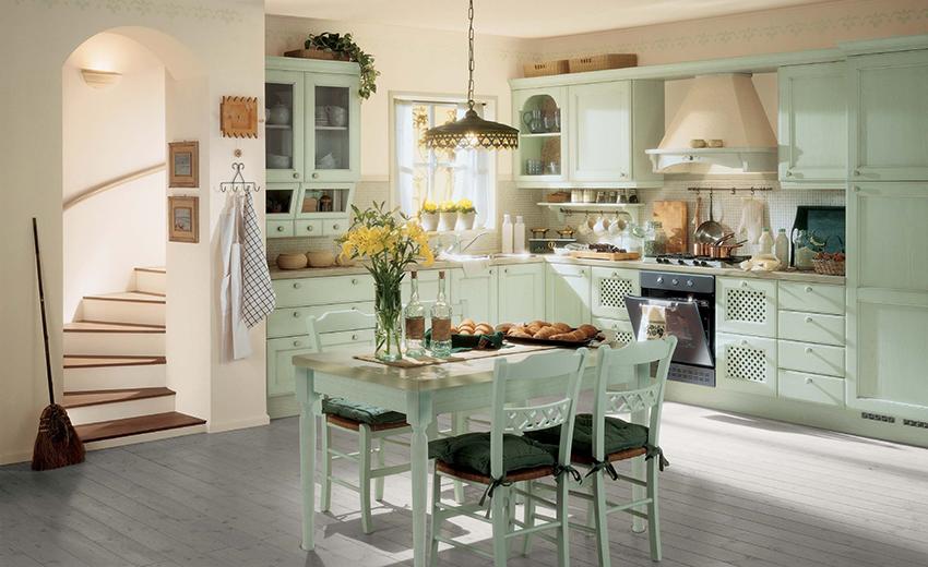кухня в ретро стиле в нежных пастельных тонах