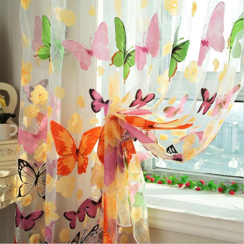 тюль с бабочками из органзы для кухни