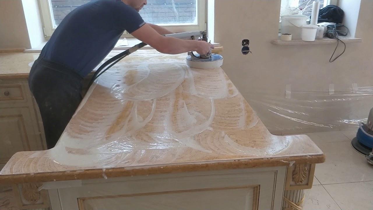полировка столешницы из натурального мрамора
