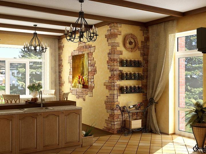 Штукатурка стен кухни в деревенском доме