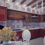 плинтус в декоре вишневой кухни