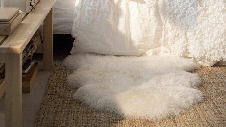 пушистый ковер от икеа в спальню