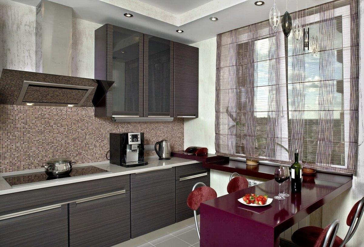 идея размещения подоконника  для кухни