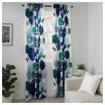белая штора икеа с синими цветами