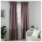 двухцветная плотная штора икеа розовых оттенков
