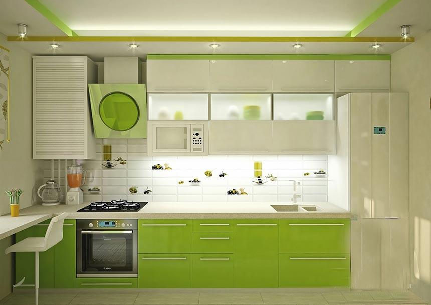 оформление кухни - оливковый и белый